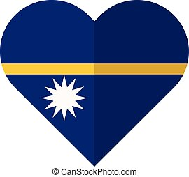 Nauruwaving flat heart flag - Vector image of the...