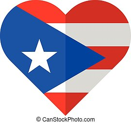 Puerto-Rico flat heart flag - Vector image of the...
