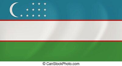 Uzbekistan waving flag - Vector image of the Uzbekistan...