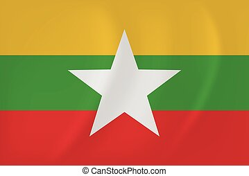 Myanmar waving flag - Vector image of the Myanmar waving...