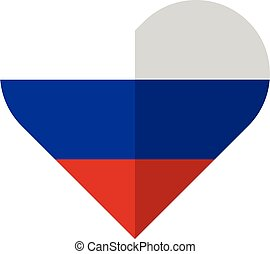 Rusia flat heart flag - Vector image of the Rusia flat heart...