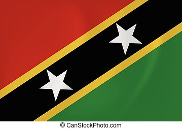Saint Kitts and Nevis waving flag - Vector image of the...