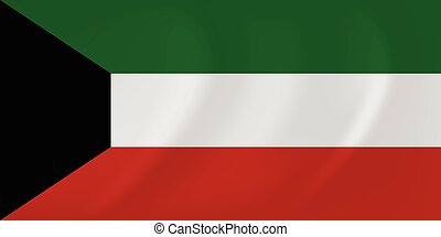 Kuwait waving flag - Vector image of the Kuwait waving flag