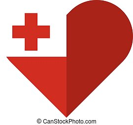 Tonga flat heart flag - Vector image of the Tonga flat heart...