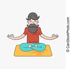 Bearded man in meditation. Vector flat line illustration.
