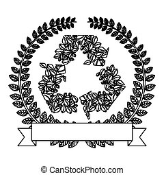 silhouette ornament of leaves with recycled symbol
