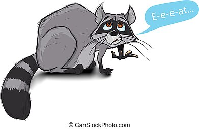 hungry raccoon - Fat, but hungry raccoon paw hands and begs...
