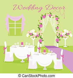Wedding Ceremony Decor Flat Design Vector Concept - Wedding...