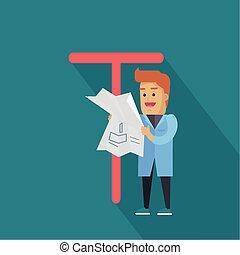 T, Ciencia,  -, carta, alfabeto