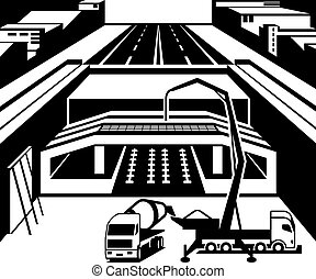 Construction of subway station in city - vector illustration
