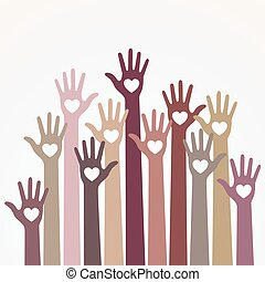 Warm pastel light monochrome colors colorful caring up hands hearts vector logo design element. Volunteers hands up with heart emblem icon for education, health care, medical, volunteer, vote.