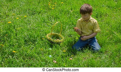 Boy on meadow collect the colorful easter eggs - Little boy...