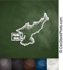 Pyong Yang map icon. Hand drawn vector illustration....