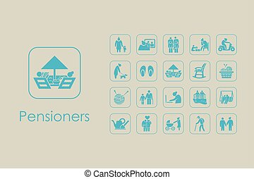 Set of pensioners simple icons - It is a set of pensioners...