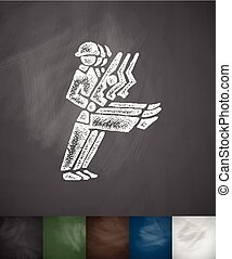 soldiers icon. Hand drawn vector illustration. Chalkboard...