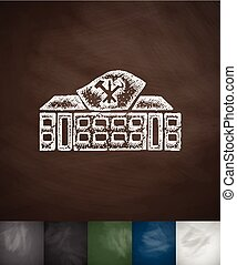 house icon. Hand drawn vector illustration. Chalkboard...