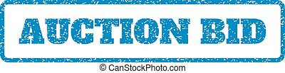 Auction Bid Rubber Stamp - Blue rubber seal stamp with...