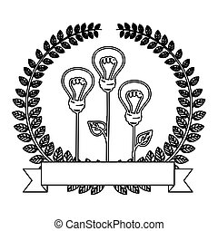 silhouette ornament of light bulb eco with leaves and label