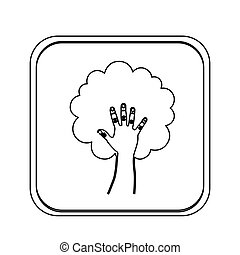 monochrome square with hand in shape of tree
