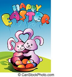 Happy Easter - Two bunnies with Easter eggs, Place for...