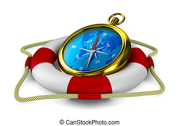 lifebuoy and compass on white background. Isolated 3D image