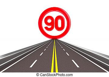 sign restriction speed. 90 - 3D image - sign restriction...