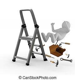 man falls from ladder on white background. Isolated 3D image