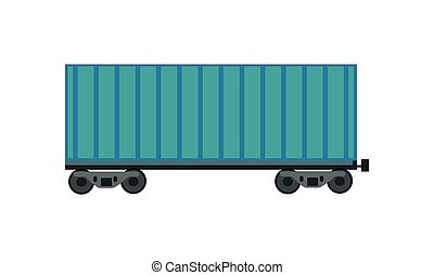 Freight Car Icon - Blue railroad container in flat. Freight...