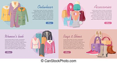 Woman s Clothing Bags and Accessories Banners Set