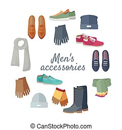 Man s Accessories Vector Concept in Flat Design
