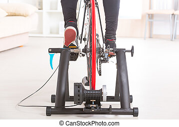Man on bicycle trainer