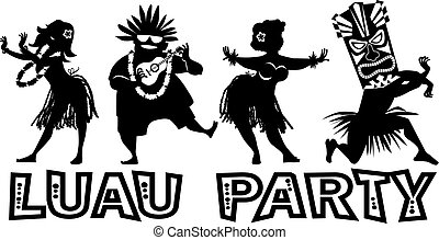 Luau Party Silhouette - Banner for luau party with people...
