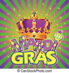 Mardi Gras Crown - Mardi Gras crown on radial background