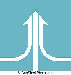 White arrow, teamwork concept - White compound arrow...