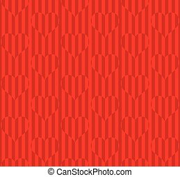 Neutral Red Seamless Pattern with Hearts for Valentines Day Gift Wrapping Paper