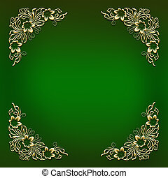 Green frame with golden floral corner ornament - Elegant...