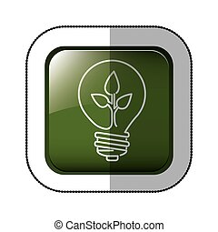 middle shadow sticker of square green with light bulb with filament leaves