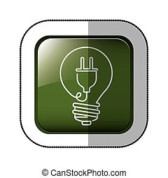 middle shadow sticker of square green with light bulb with filament power cord