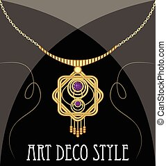 Gold necklace star shape with purple ametyst on fine golden chain, elegant vintage jewel in art deco style