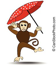 Little monkey romping with red dotted umbrella, isolated cartoon illustration on white background, decoration for kindergarten, toy store, zoo