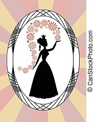 Vintage lady silhouette, lady throwing flowers, in oval...