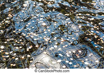 Closeup of fountain with coins at the bottom. Travel and...