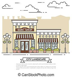 Street cafe, bakery with lamps on white background Line art...