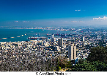 Haifa cityscape and harbour - The view of Haifa city and...