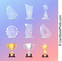 Glass and Metal Sport Trophies And Cups Vector Set - Glass...