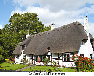 Thatched Cottage - a lovely picture postcard thatched white...