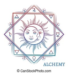Hand drawn alchemy symbol isolated on white background....