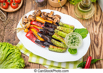 roasted vegetables on the grill