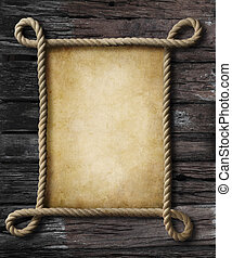 old paper in rope pirate style frame