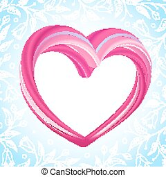 Valentines background, abstract pink heart shape -...